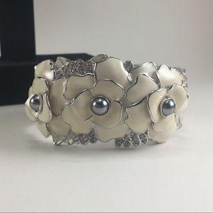 Nolan Miller White enamel floral bracelet